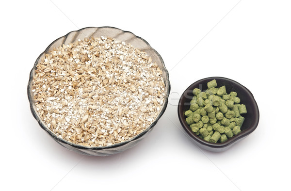 barley with pellets of hops Stock photo © inxti