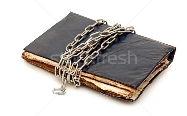 Régi könyv lánc izolált fehér könyv oktatás Stock fotó © inxti