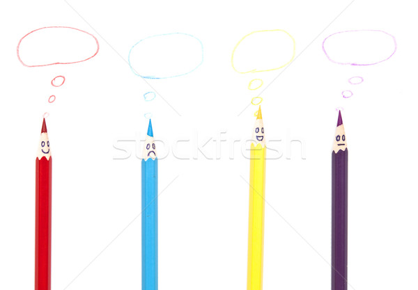 Mutlu grup kalem yüzler sosyal ağ konuşma balonu Stok fotoğraf © inxti