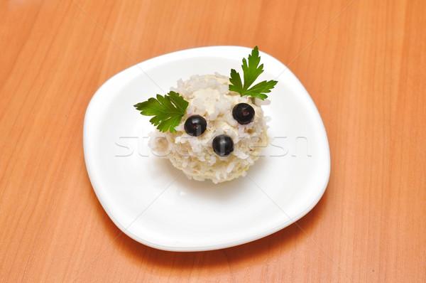 риса мяча белый пластина еды пар Сток-фото © inxti