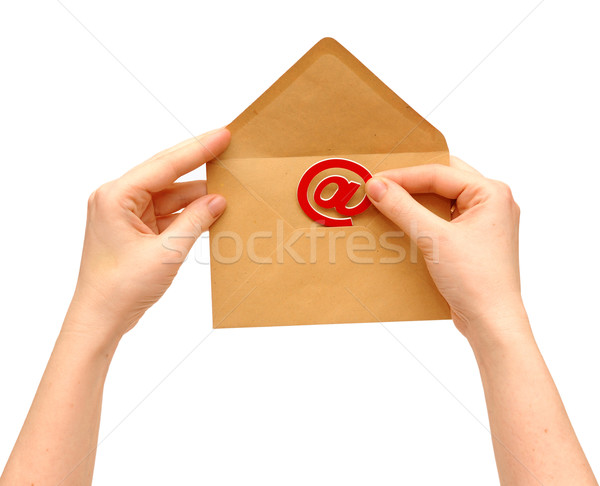 Envelope and e-mail in the hands of women  Stock photo © inxti
