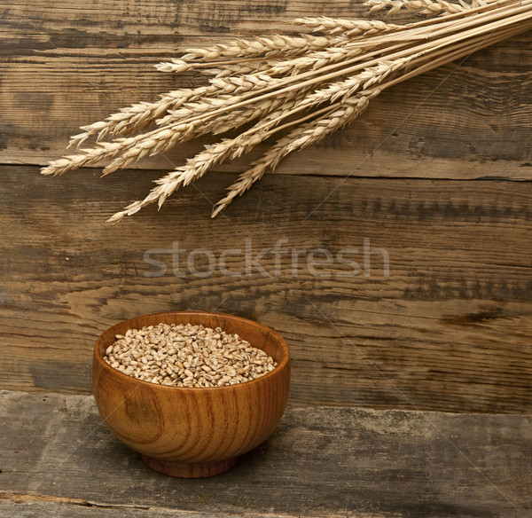 ears spike of wheat on wood texture background  Stock photo © inxti