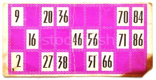 öreg lottó kártya fehér háttér csoport Stock fotó © inxti