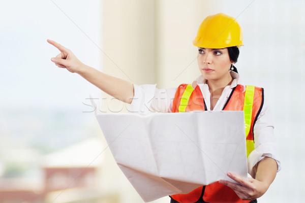 Femminile architetto stock immagine ingegnere Foto d'archivio © iodrakon