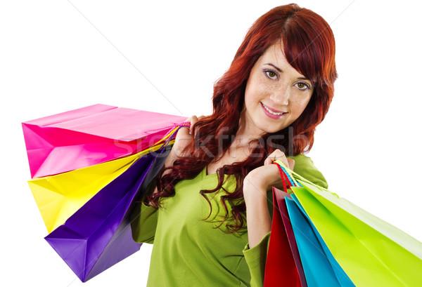 Winkelen voorraad afbeelding vrolijk vrouw Stockfoto © iodrakon