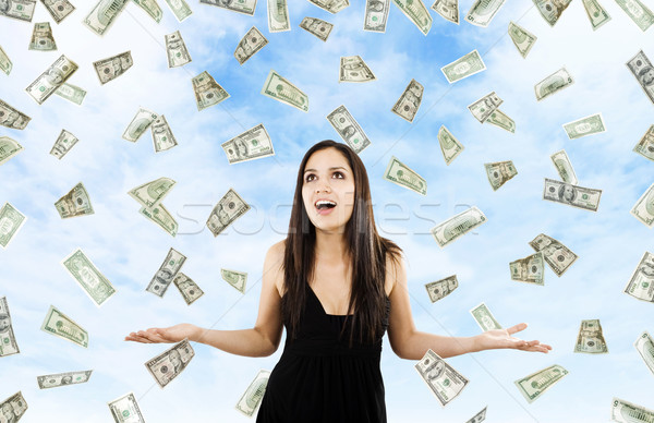 Pénz menny stock kép nő áll Stock fotó © iodrakon