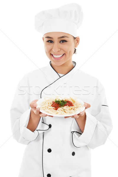 Femminile chef stock immagine isolato bianco Foto d'archivio © iodrakon