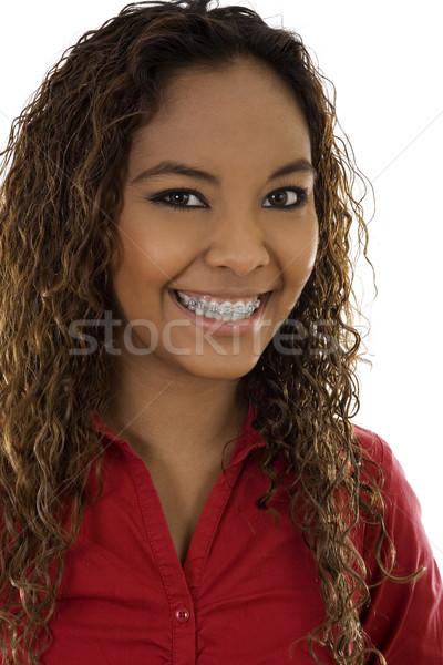 Vrouw glimlachen voorraad afbeelding bretels witte vrouw Stockfoto © iodrakon