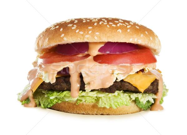 Heerlijk cheeseburger voorraad afbeelding klassiek geïsoleerd Stockfoto © iodrakon