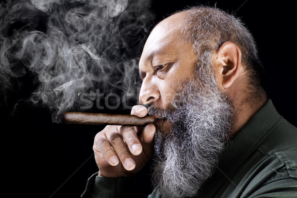 Homme fumer cigare stock image adulte Photo stock © iodrakon