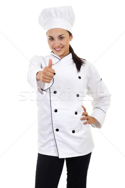 Vrouwelijke chef voorraad afbeelding geïsoleerd Stockfoto © iodrakon