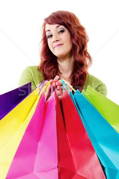 Winkelen voorraad afbeelding vrouwelijke klant geïsoleerd Stockfoto © iodrakon