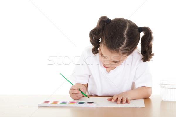 Voorraad afbeelding vrouwelijke tekening school Stockfoto © iodrakon
