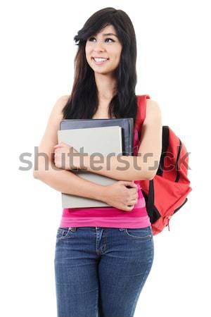 Kobiet student czas obraz odizolowany biały Zdjęcia stock © iodrakon