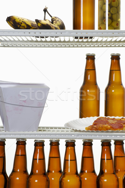 Hűtőszekrény stock kép belső papír étel Stock fotó © iodrakon