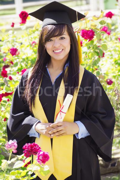 érettségi nap stock kép boldog női Stock fotó © iodrakon