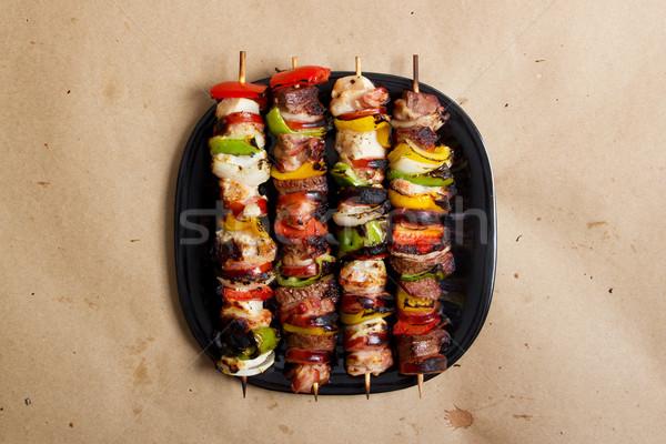 在庫 画像 焼き 牛肉 鶏 プレート ストックフォト © iodrakon