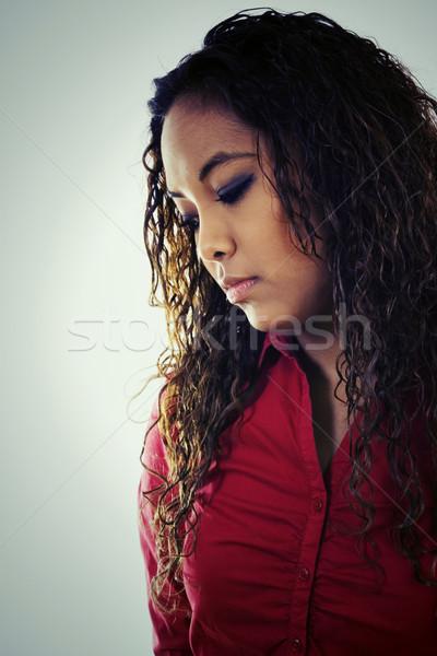 Traurig Frau hat Bild groß Stock foto © iodrakon