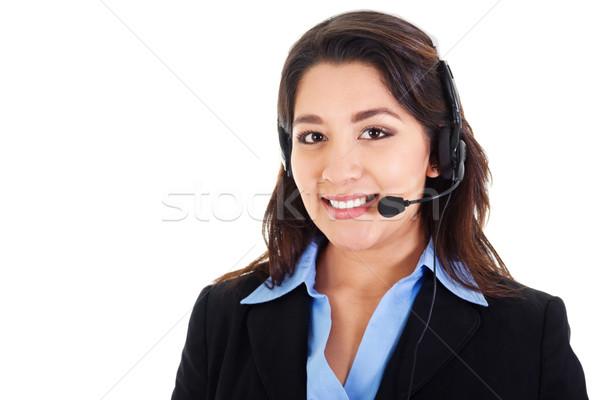 Feminino call center operador estoque imagem sorridente Foto stock © iodrakon