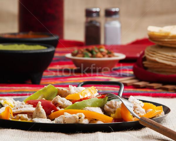 Pollo fajitas stock immagine piatto ristorante Foto d'archivio © iodrakon