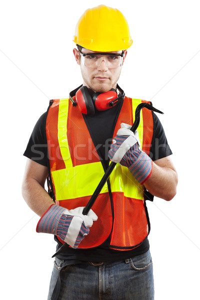 Travailleur de la construction stock image Homme blanche construction Photo stock © iodrakon