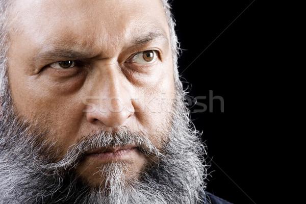 Foto stock: Ameaçador · homem · estoque · imagem · longo · barba