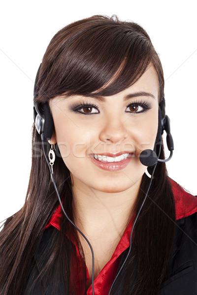 Kobiet call center operatora czas obraz biały Zdjęcia stock © iodrakon