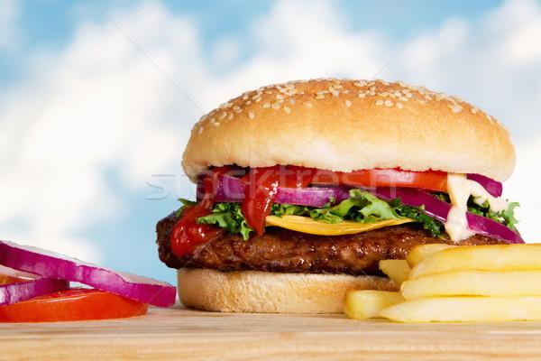 Cheeseburger estoque imagem fries ao ar livre Foto stock © iodrakon