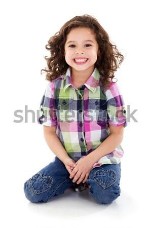 幸せな女の子 在庫 画像 孤立した 白 笑顔 ストックフォト © iodrakon