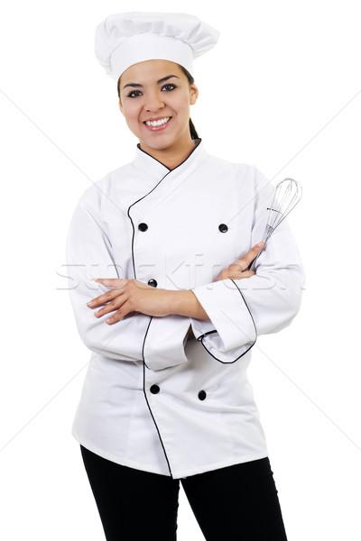 女性 シェフ 在庫 画像 孤立した 白 ストックフォト © iodrakon