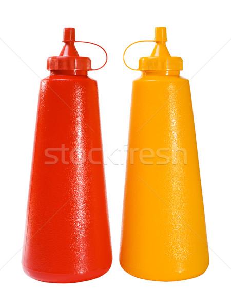 кетчуп горчица складе изображение пластиковых бутылок Сток-фото © iodrakon