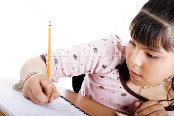 Aranyos lány házi feladat félvér fehér könyv Stock fotó © iodrakon