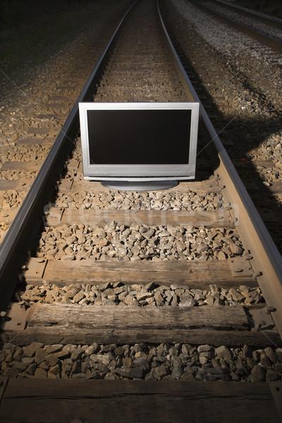 Televízió vonat panel szett vasúti sinek éjszaka Stock fotó © iofoto