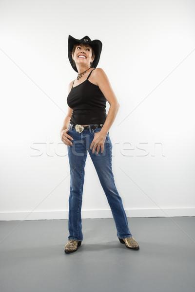 Retrato bastante caucasiano mulher sorrindo mulheres Foto stock © iofoto