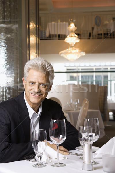 Homme mûr restaurant Homme séance Photo stock © iofoto