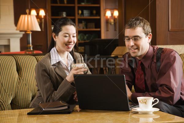 деловые люди заседание кавказский взрослый бизнесмен женщину Сток-фото © iofoto