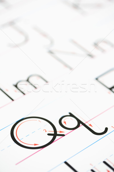 Handschrift Übung Alphabet Seite Papier Schule Stock foto © iofoto