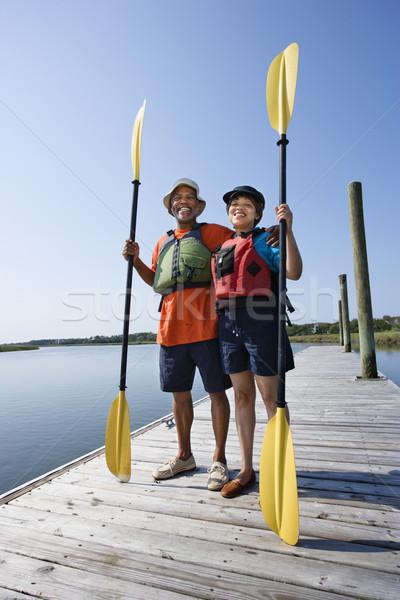 Couple quai permanent bateau Photo stock © iofoto