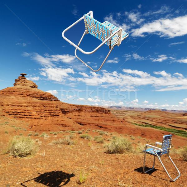 Lawn chairs in desert. Stock photo © iofoto