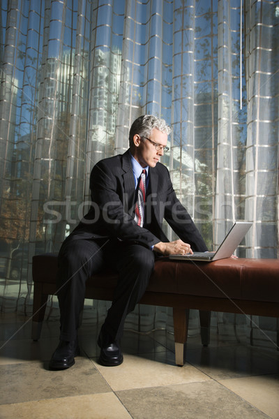 Businessman with Laptop Computer. Stock photo © iofoto