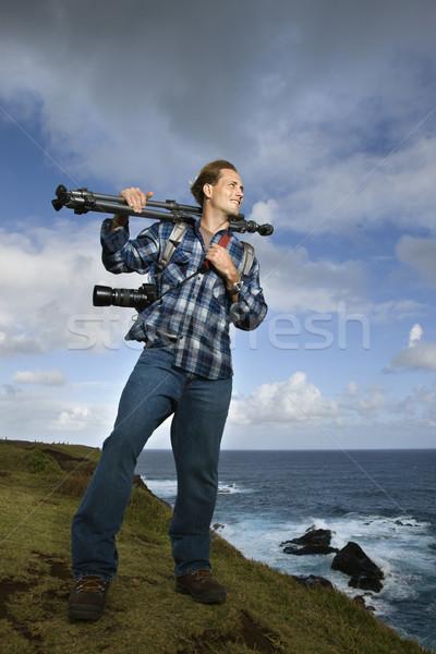 Człowiek kamery wyposażenie stałego Zdjęcia stock © iofoto