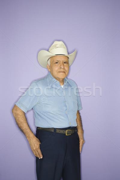 Férfi visel cowboykalap kaukázusi középkorú felnőtt férfi Stock fotó © iofoto