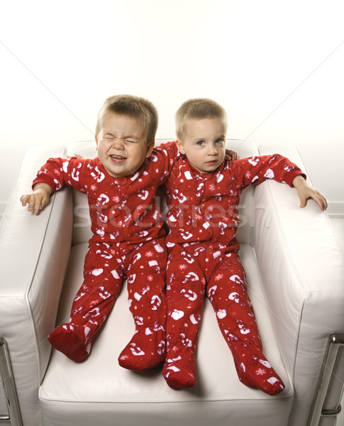 Boy twin brothers sitting together. Stock photo © iofoto