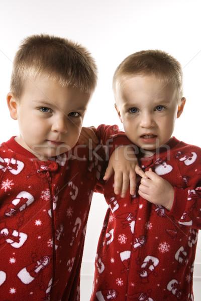 Fiú iker fiútestvérek pizsama kaukázusi férfi Stock fotó © iofoto