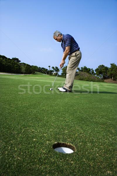 Stockfoto: Man · golf · afbeelding · mannelijke · golfbal · gat