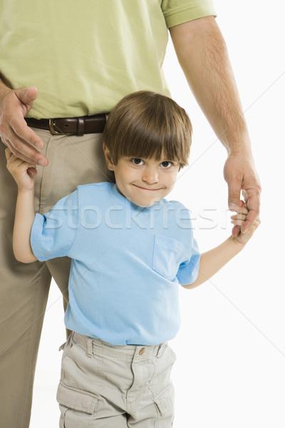 Stock fotó: Fiú · apa · tart · kezek · áll · fehér