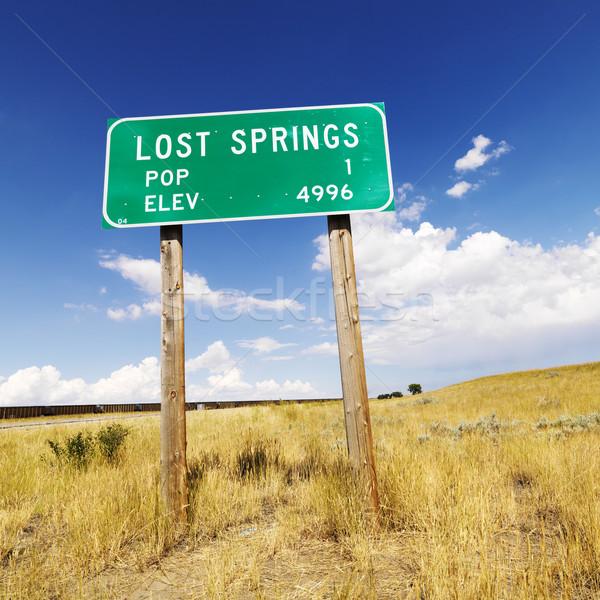 Wyoming panneau routier population signe perdu communication Photo stock © iofoto