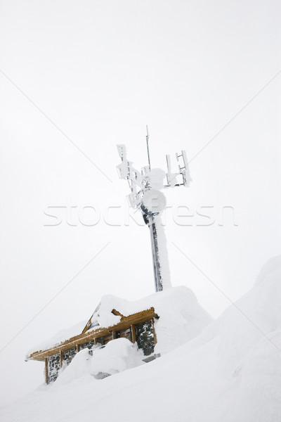 Cabine antena coberto neve edifício viajar Foto stock © iofoto