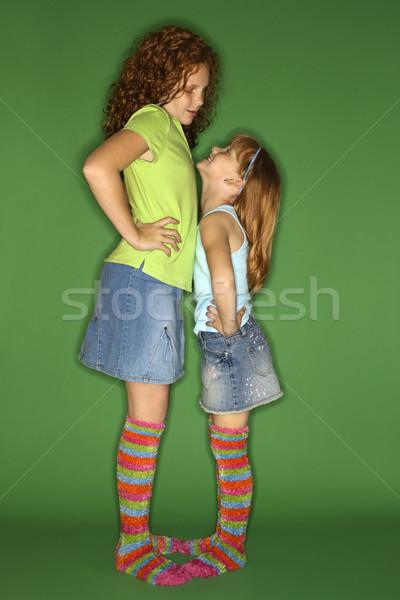 Lányok áll szemtől szembe kaukázusi női gyerekek Stock fotó © iofoto