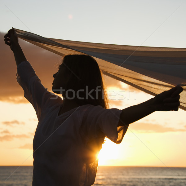 Csinos nő naplemente vonzó kaukázusi nő magasra tart Stock fotó © iofoto